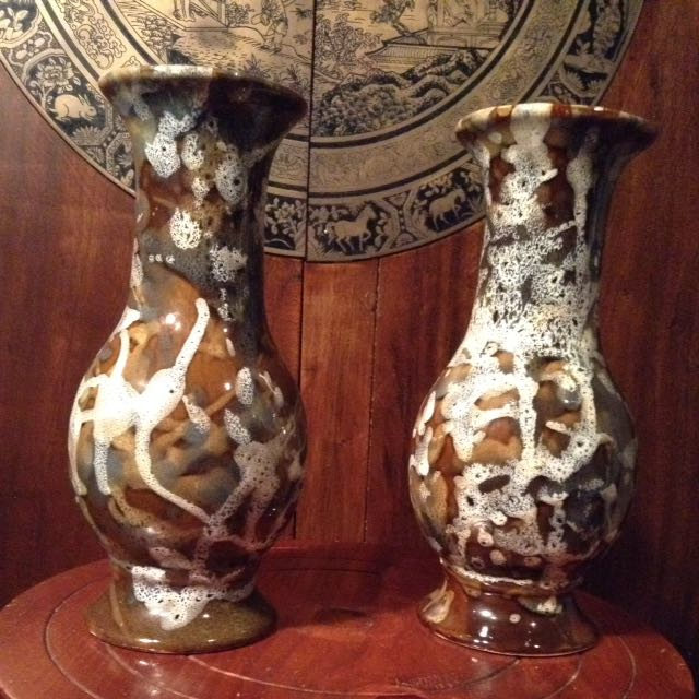 2 Porcelain Chinese Splash Vases