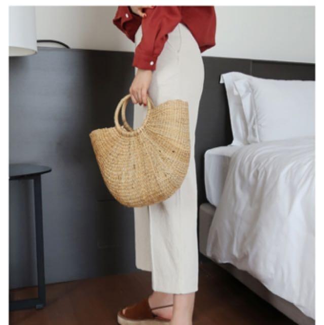 韓國編織草包