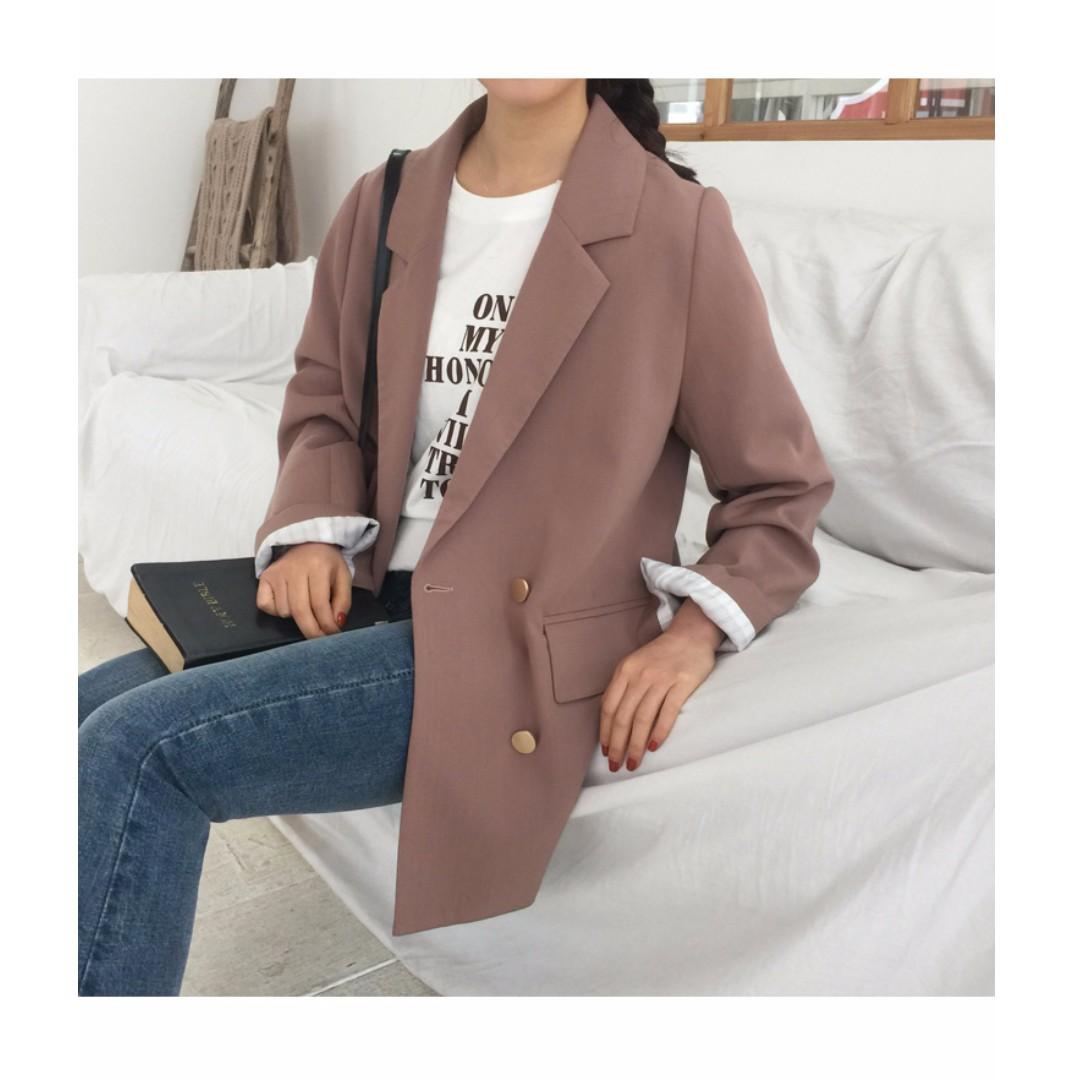 [預購]春季新款暗粉色俐落剪裁西裝外套