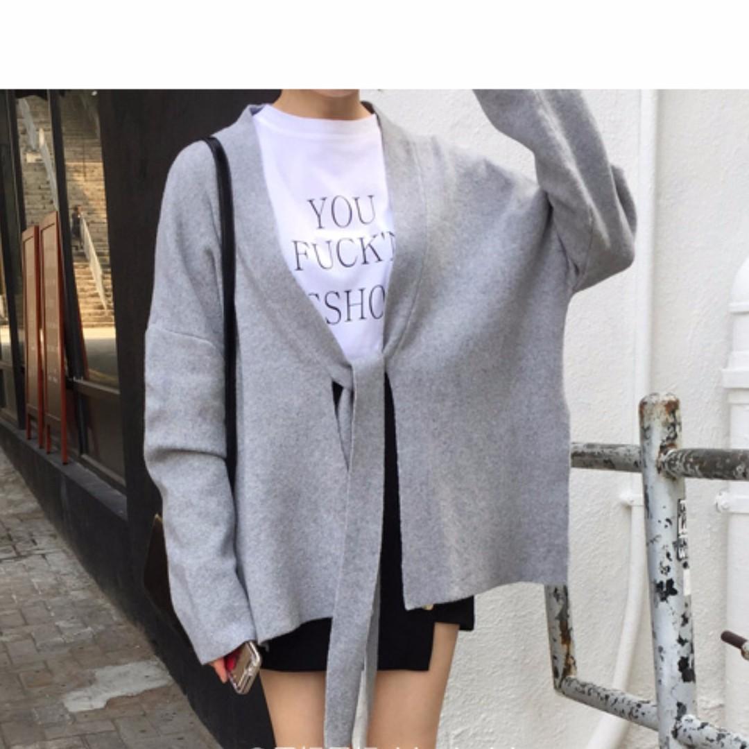 [預購]韓簡約開襟毛衣綁帶針織衫