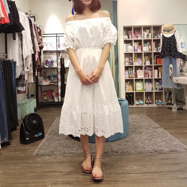 全新韓。露肩高腰白色長洋裝