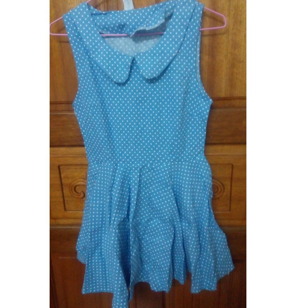 藍色無袖點點小洋裝