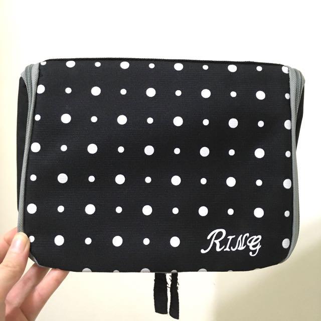 黑白點點夏日旅行收納包 盥洗包 旅行袋