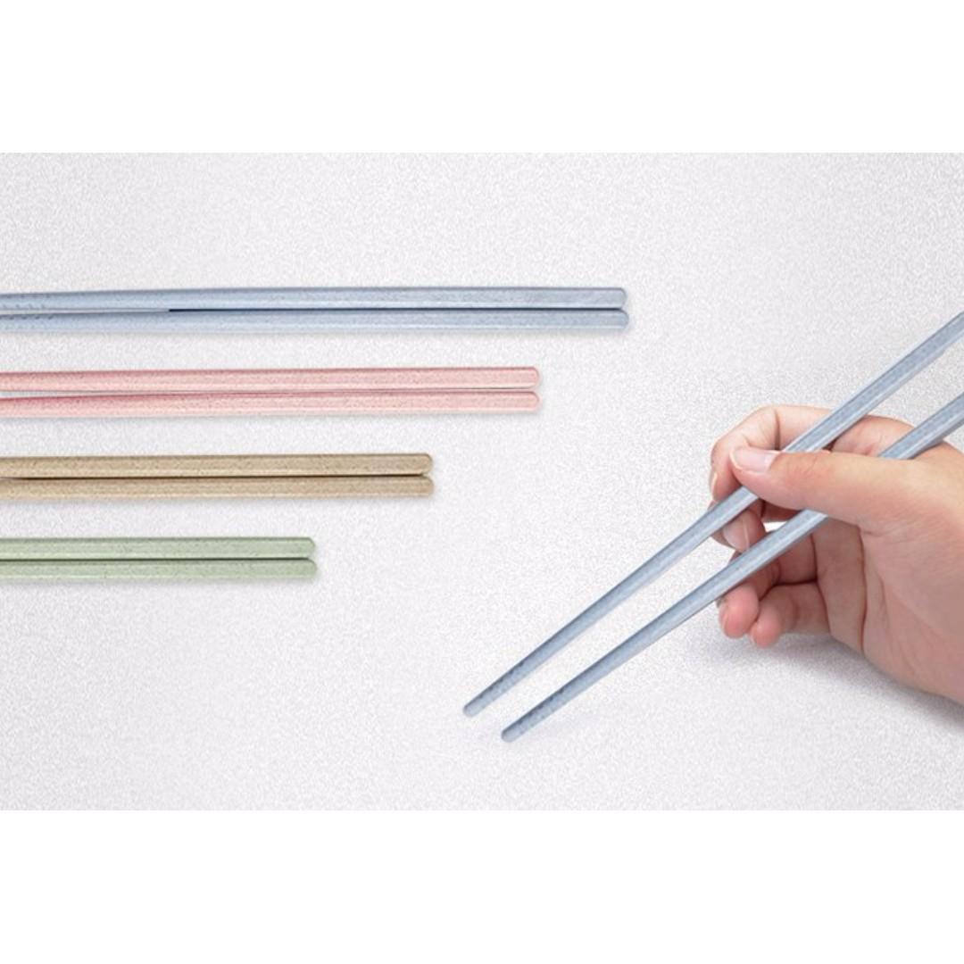 小麥秸稈 防滑防黴防霉環保筷子 餐具 4雙裝#Y161