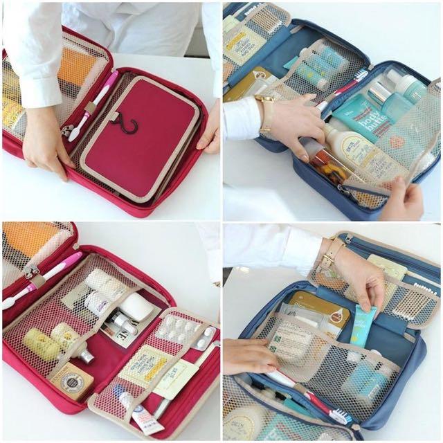 全新韓國收納包 分隔洗漱用品收納包 紅色 旅行必備