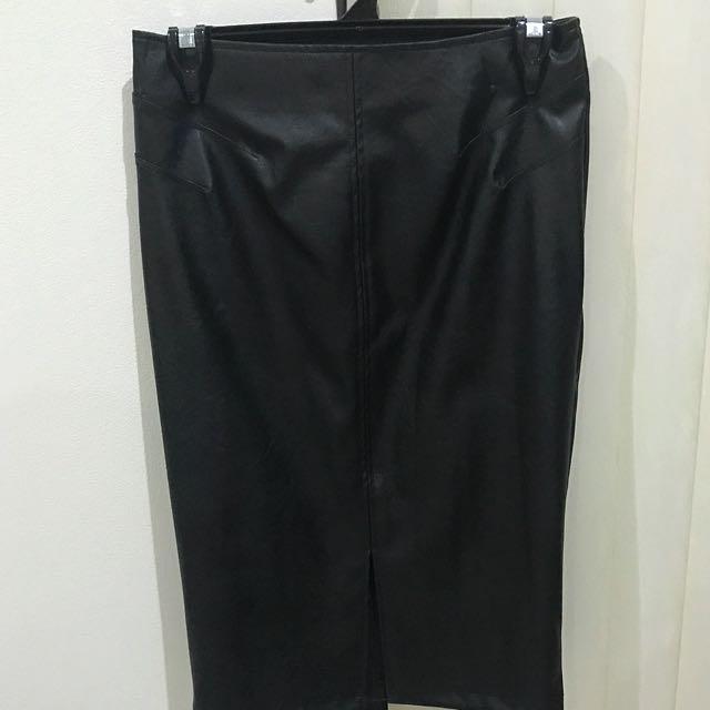 Black PU Split Front Skirt