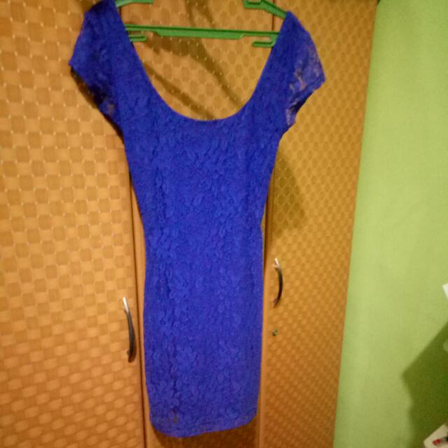 Blue Lace Bodycone scoop back Dress