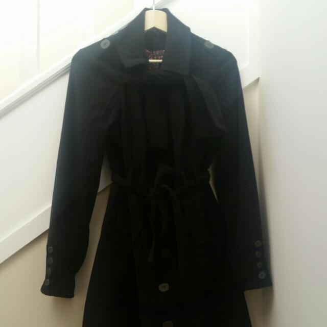 Bluejuice Black Trench Coat With Bow Aroind Neck