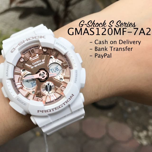Casio G-Shock S Series GMAS120MF-7A2 Rose Gold Dial Off White Resin Watch