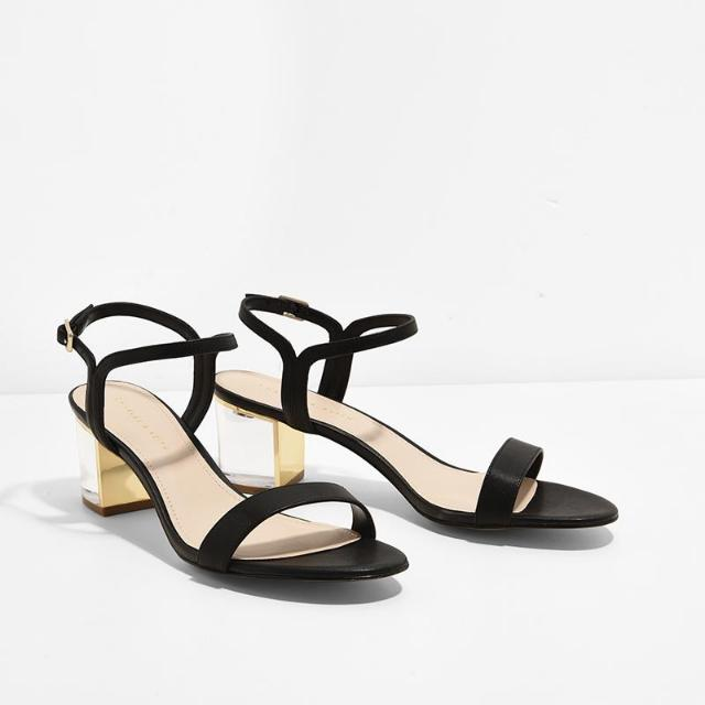 CHARLES AND KEITH LUCITE HEELS SANDAL
