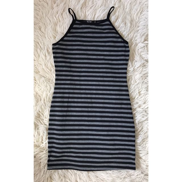 Chica Booti Grey And Black Stripe Halter Dress