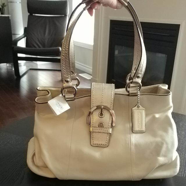 Coach Handbag - New With Tags - White And Pewter With Silver Coloured Hardware