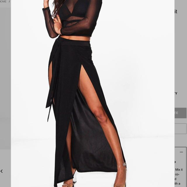 Double Thigh Split Maxi Skirt