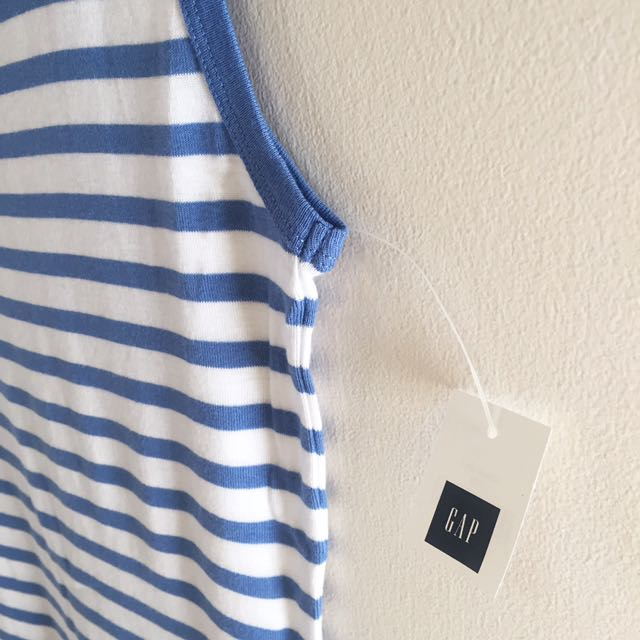 Gap Blue and White striped tank top