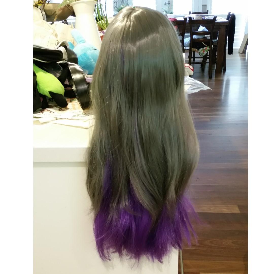 Harajuku lolita grey purple cosplay wig