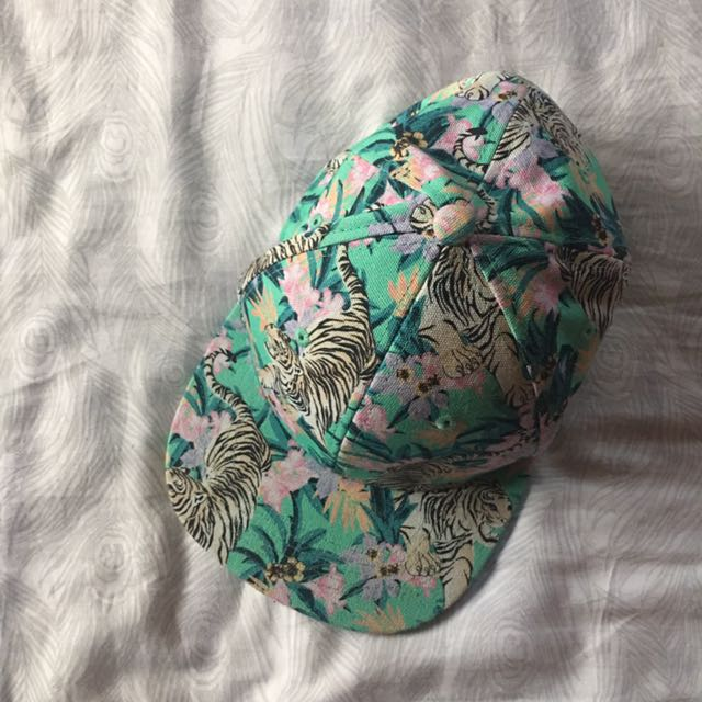 H&M Green Tiger Print Cap