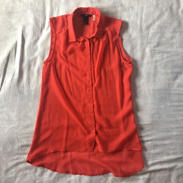 H&M Red Sheer Sleeveless Chiffon Top