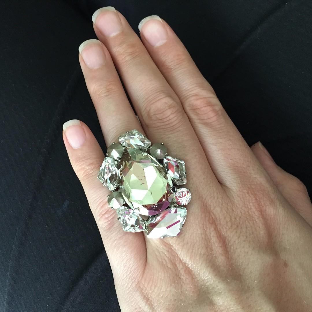 House of Emmanuel SWAROVSKI CRYSTAL EMBELLISHED CRYSTAL Ring Brand New Multi-size