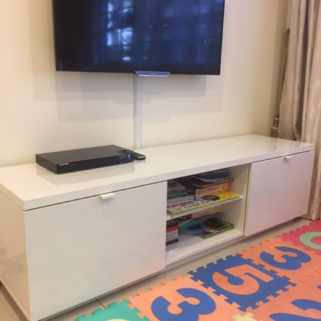 Betere Ikea BYAS TV Console in High Gloss White, Furniture, Shelves JS-84