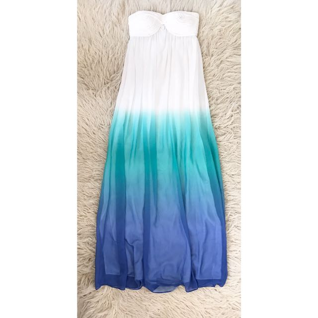 Jeanswest Strapless Blue And White Ombré Dress
