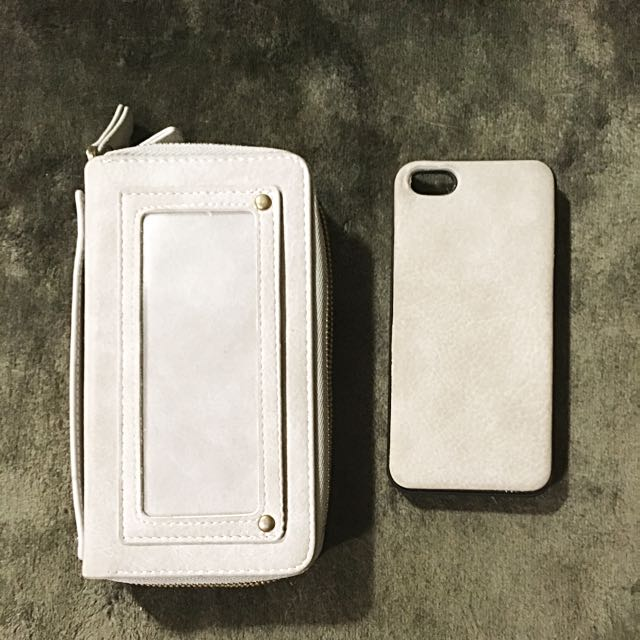 Light Grey Suede Wallet With Matching iPhone Case