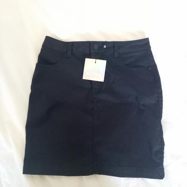 Missguided black denim skirt