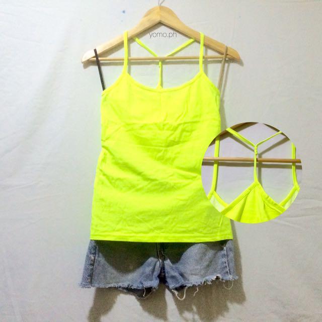 Neon Yellow Plain Y-Back Top