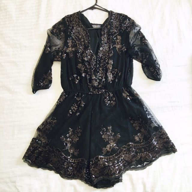 New Black Mesh Sequence Lace Playsuit