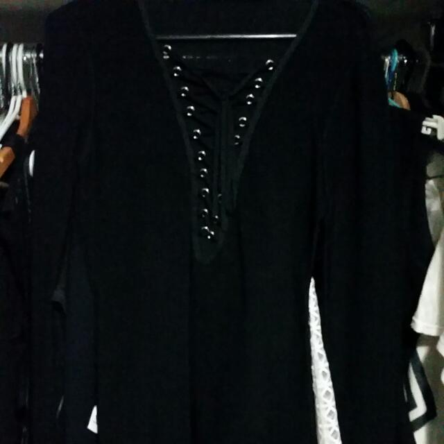 New Seed Black Lace Up Long Sleeve Top Small