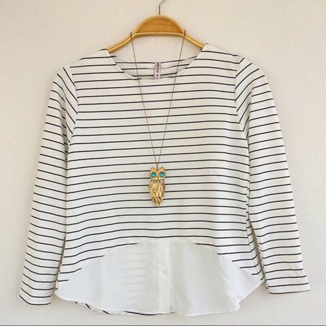 NEW White Stripes Blouse