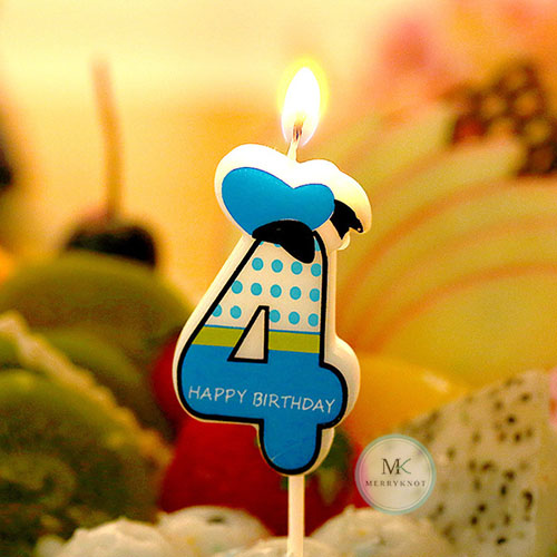 Number 4 Birthday Cake Candle Party Design Craft