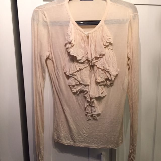 Ralph Lauren Cream Top With Neck Ruffle Frill