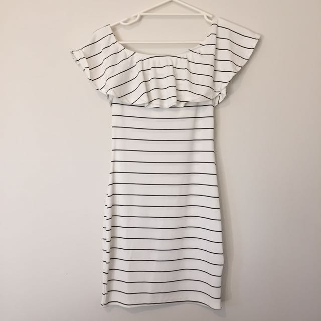 Striped Off The Shoulder Body Con Dress
