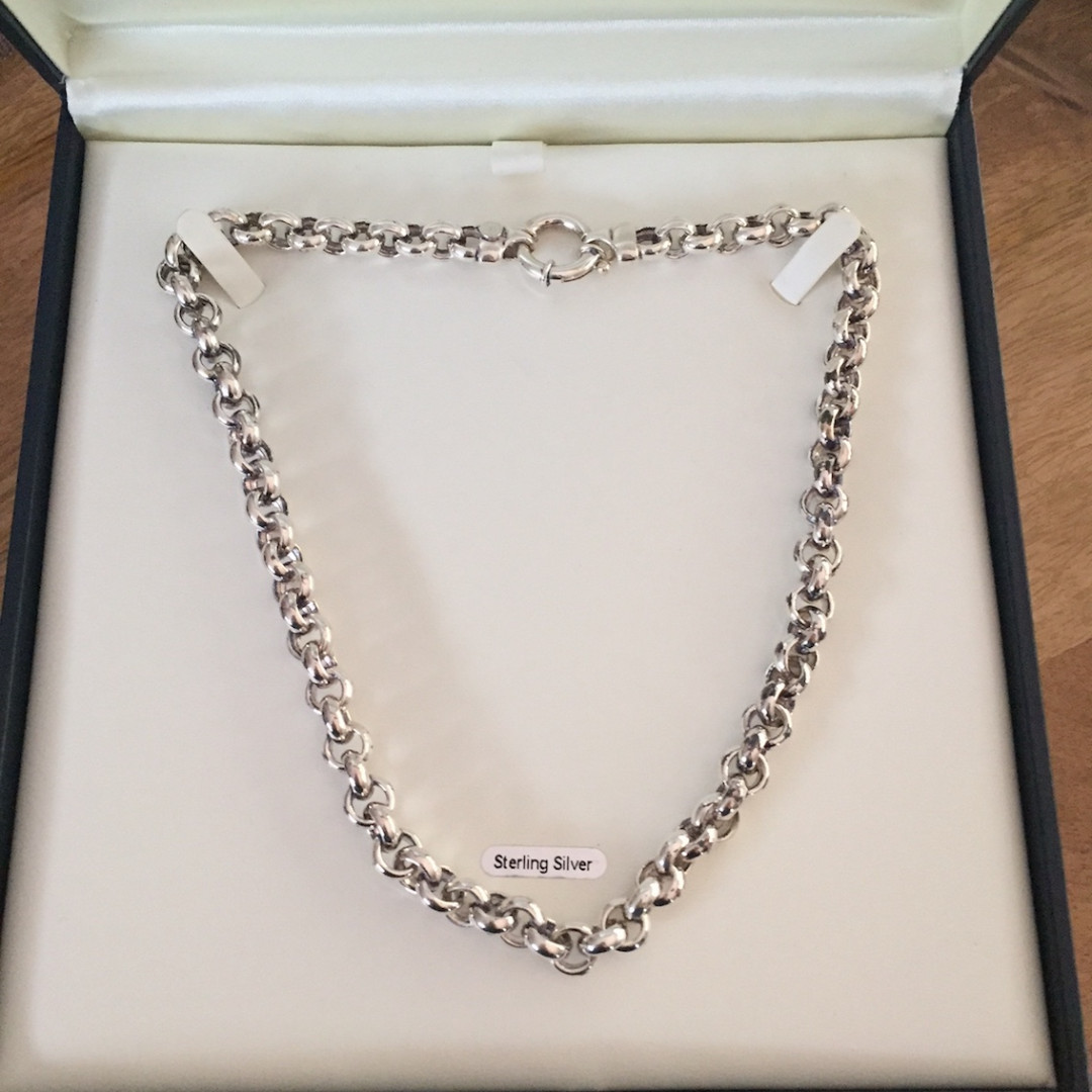 Thomas Jewellers Ring Bolt Chain Sterling Silver New in Box Necklace