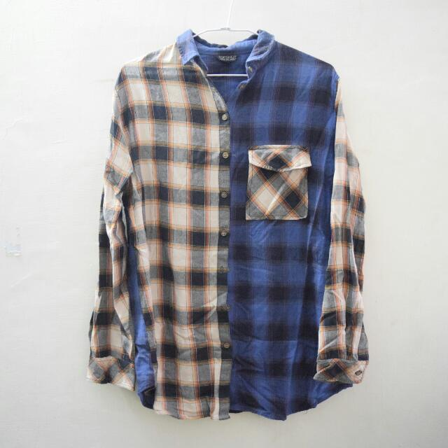 TOPSHOP Asymmetric Plaid Shirt