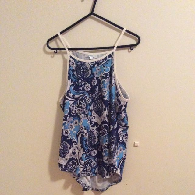 Valley girl Women's Clothing Patterned Singlet Blue Shirt