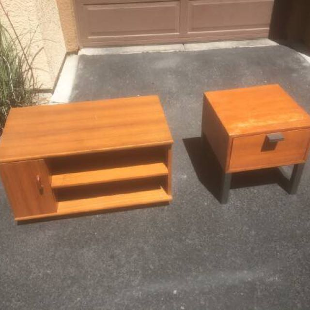 VINTAGE TV STAND AND SIDE STAND /ALL WOOD