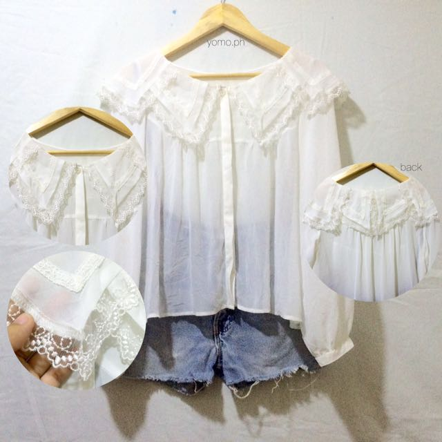 White Classy Long Sleeves With Lace Collars