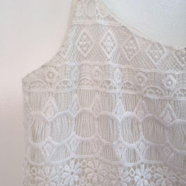 White lace spaghetti strap H&M top