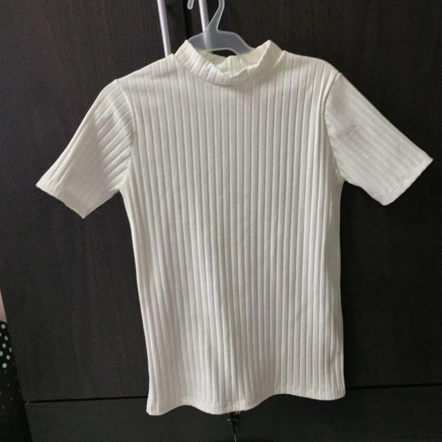 White TNeck Knit Top