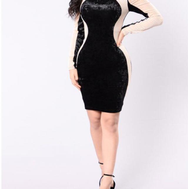 Women's black and beige longsleeve bodycon dress