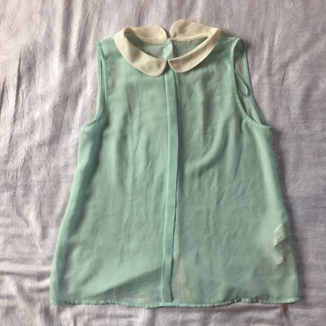 ZARA Light Blue Sheer Chiffon Sleeveless Top With Peter Pan Collar
