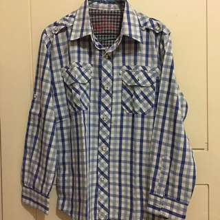 The Corps Checkers Kotak Kotak Biru Shirt Kemeja Size M