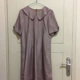 Satin Dress Khaki Size M