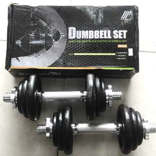 Brand New Dumbbell Set - 20kg Iron Black - Rubber Hex - Gym Equipment