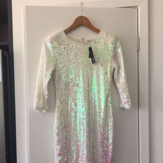 White Never Worn Sequin Dress