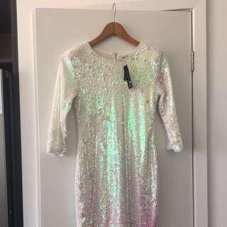 White Never Worn Sequin Dress