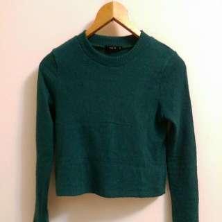 Pazzo 深綠短版針織毛衣/上衣