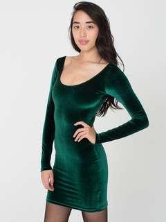 American Apparel Green Velvet Dress
