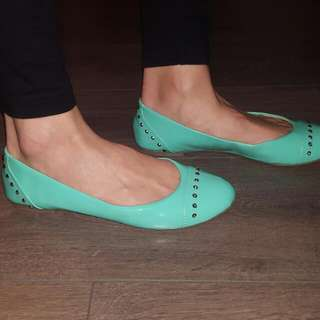 Green Flats With Stud Detail